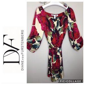 DVF  Fall Jewel Tone Silk Print 3/4 Sleeve Dress